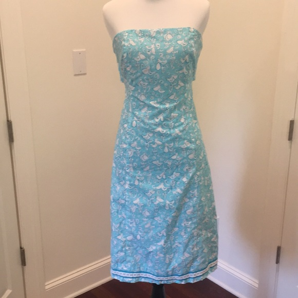 Lilly Pulitzer blue seagull strapless dress 6
